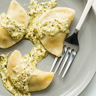 Pesto-Potato Pierogi with a Pesto Cream Sauce