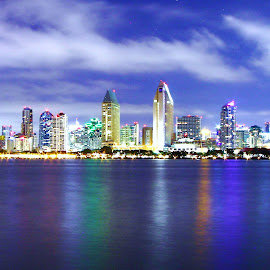 Beautiful San Diego by Kelly Kufa - City,  Street & Park  Skylines ( water, san diego, beautiful colors, ocean, night,  )