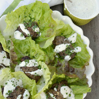 Greek Style Grilled Beef Lettuce Wraps with Yogurt-Garlic Sauce