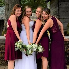 Close friends, special day. by Carol Leynard - Wedding Groups ( bride, bouquets, maid of honor, bridesmaid, wedding )
