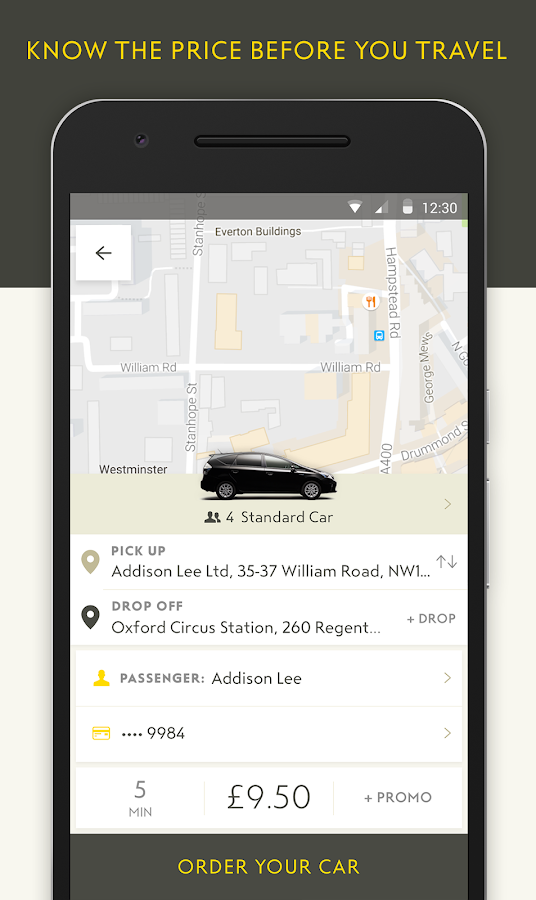 Addison Lee – Taxi App Screenshot 1