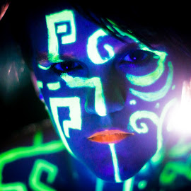 by Rob Casey - People Body Art/Tattoos ( body, girl, woman, dark, body art, highlighter, glow, atlantis, mood factory, color, lighting, moods, colorful, light, bulbs, mood-lites,  )