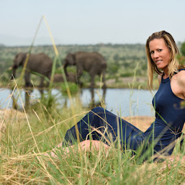 On Safari by Andrew Morgan - People Portraits of Women ( elephants, elegant, safari, wildlife, beauty, tanzania )