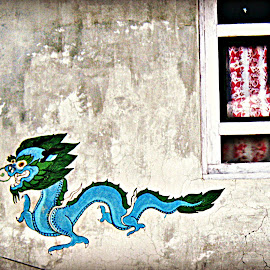 Village Mural by Tamsin Carlisle - City,  Street & Park  Neighborhoods ( himalayan, painted, himalaya, window, village, dragon, mural, painting, langtang, wall, nepal,  )