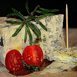 Gorgonzola by Renata Ivanovic - Food & Drink Meats & Cheeses ( olive oil, rosmarinus, chess, tomatoes, close up )