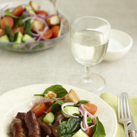 Balsamic Glazed Sausages with Salad