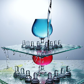 More splashing on Chess boards by Peter Salmon - Artistic Objects Glass ( water, glasses, chess, glass, boards )