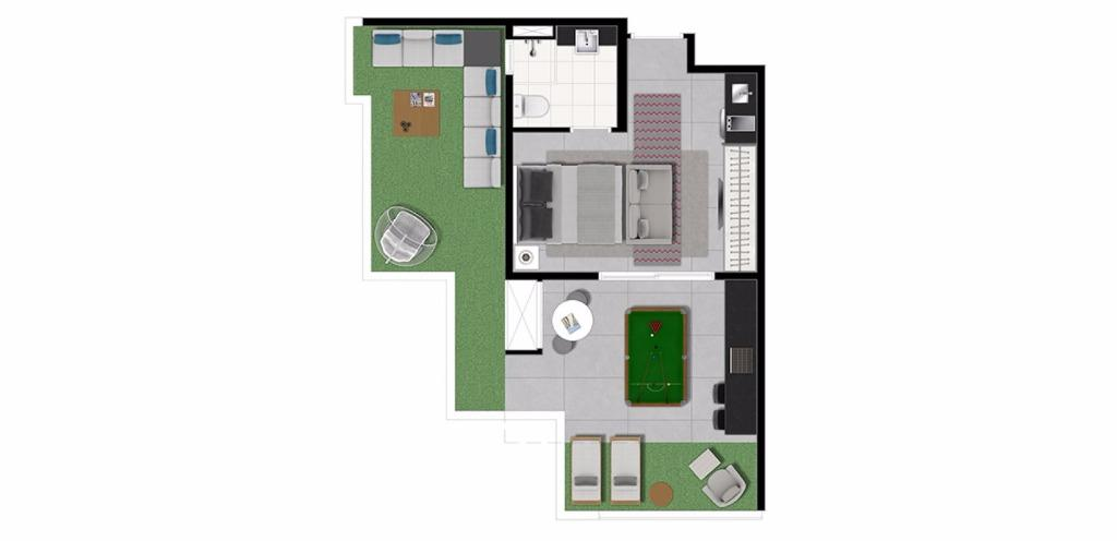 Planta Penthouse 49 m²