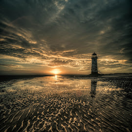 Talacre Sunrise by Peter Rollings - Landscapes Sunsets & Sunrises ( clouds, talacre, sand, sky, wales, sunset, lighthouse, sea, rifts, colours )