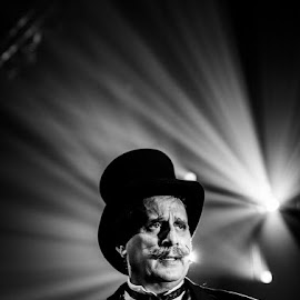 Ringmaster by Mark Turner - People Musicians & Entertainers ( theatre, performing arts, ringmaster, blac and white, circus )