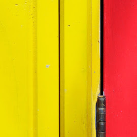 Yellow by Catherine Cerezuela - Abstract Patterns ( abstract, red, line, door, yellow )