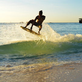 SKIM BOARDING by Philip Familara - Sports & Fitness Watersports ( water, watersports, boracay, sports, beach, philippines, activity, island )