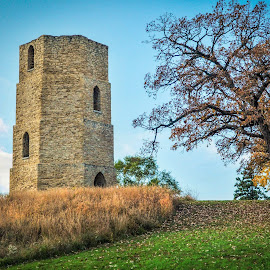 Beloit Water Tower by Robert Coffey - Buildings & Architecture Public & Historical ( wisconsin, beloit, stone, trees, windows, water tower )