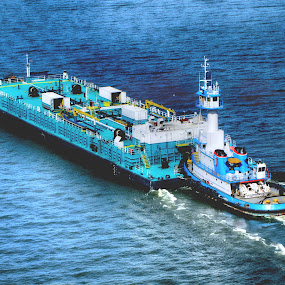Push by Jeff Dalton - Transportation Boats ( water, tugboat, barge, boats, pushing, lakes, pictures, lake, transportation, rivers, boat, push, photography, picture, blue, things, river, tug )