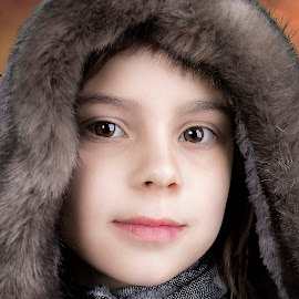 Ready for winter by Mario Toth - Babies & Children Child Portraits ( girl, children, close up, hood, portrait )