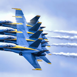 Blue Angels Line Abreast by DB Channer - Transportation Airplanes ( f-18, airplane, hornet, us, jets, team, demonstration, flying, aviation, fl, aircraft, navy, formation, airshow, blue angels, air show )