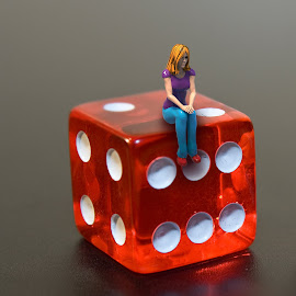 Lady On Dice by Charlie Alolkoy - Artistic Objects Toys ( dice, lady, people, miniature )