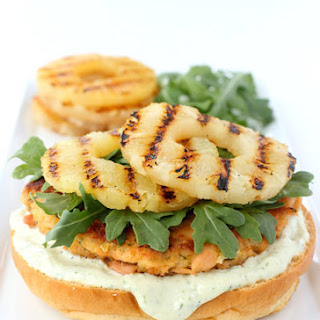 Salmon Burgers with Grilled Pineapple and Garlic-Basil Sauce