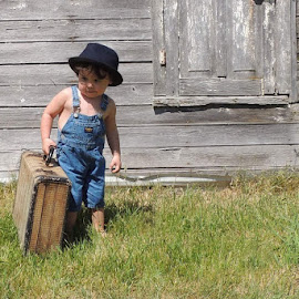 Off to Grandma and Grandpas by Donna Beaver - Babies & Children Toddlers ( barn, outdoor photography, vintage, children, toddler )