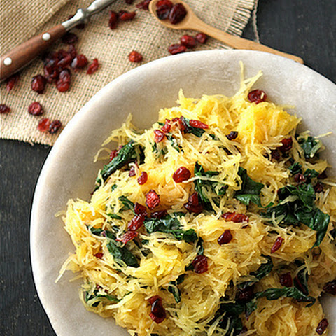 Spaghetti Squash with Swiss Chard, Dried Cranberries & Dijon Vinaigrette