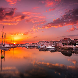 Sunset avenue by Gregor Grega - Landscapes Sunsets & Sunrises ( water, clouds, murter island, beautiful, boats, journey, sea, beauty, travel, sun, mirrored reflections, tranquil, nature, sunset, skyporn, sunrise, yacht club, dalmatia, travel photography )