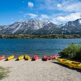 Kayaks in Alaska by Geoff Blachstein - Landscapes Travel ( mountains, vacation, yukon, kayaks, alaska, lake )