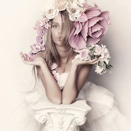 romance by Carola Kayen-mouthaan - People Portraits of Women ( girl, fine art, romantic, portrait, flower )
