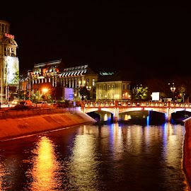 by Sorin Lazar - City,  Street & Park  Vistas ( lights, bucharest, buildings, architectural, night, romania, architecture, city )