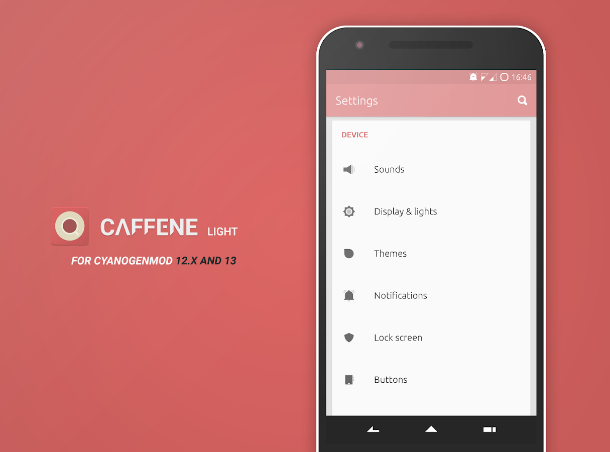 Caffene Light CM12/13 Theme Screenshot