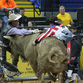 Ready For Lift Off by Brian  Shoemaker  - Sports & Fitness Rodeo/Bull Riding ( cowboy, rank, bullfighter, bullrider, rodeo, bull )
