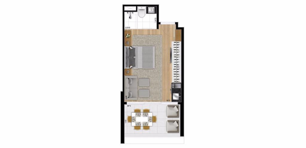 Planta Studio 30 m²