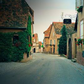 French Village by Lena Arkell - City,  Street & Park  Street Scenes ( barr, village, street, france, morning,  )