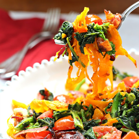 Paleo Butternut Squash Pasta with Bacon & Broccoli Rabe (Whole30)