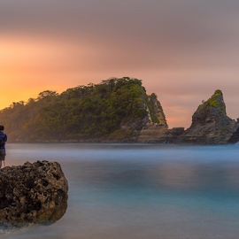 Atuh Beach by Rio Tanusudiro - Landscapes Beaches ( water, bali, coral, color, sunset, twilight, rock, seascape, travel, beach, light, dusk,  )