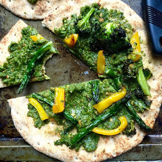 Roasted Vegetable and Pesto Flatbread Pizzas