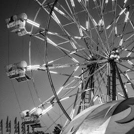 The Fair in Gray by Randi Hodson - City,  Street & Park  Amusement Parks ( rides, amusement park, black and white, fair )