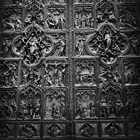 Duomo doors by Lilian Iatco - Buildings & Architecture Architectural Detail ( doors, milan, detail, travel, black )