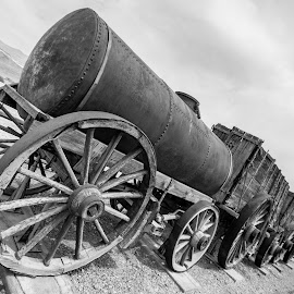 Death Valley by Anthony Ashcroft - Transportation Trains ( canon, death valley, honeymoon, mining, anthony, vally, black and white, death, borax, valley, 50d, usa )
