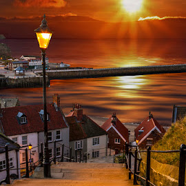 199 Steps Of Whitby by Sandra Cockayne - Digital Art Places ( victorian lantern, sandra cockayne, whitby, sunrise, places, street lights, 199 steps )