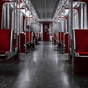 Subway  by Ralph Sobanski - Transportation Trains ( selective colour, subway, ttc, canada, toronto, metro, inside, train, seats, tic, ontario )