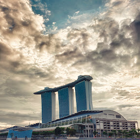 Glorious Towers by Jonathan Danker - Buildings & Architecture Other Exteriors ( singapore marina bay sands sunrise hdr )