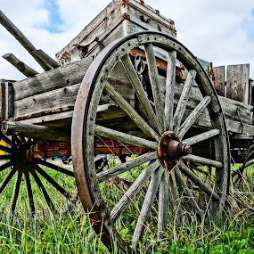 Worn Wagon by Barbara Brock - Artistic Objects Other Objects ( wagon wheels, cloudy skies, old wagon, decaying old wagon, wood wagon,  )