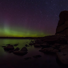 The Dance by Laura Gardner - Novices Only Landscapes ( water, sky, northern ights, nd, stars, night, lake sakakawea )