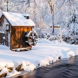 Wheel House by Carl Albro - Buildings & Architecture Other Exteriors ( water, building, snow, water wheel )