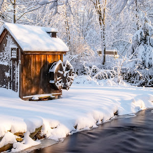 Cabin with Water Wheel Covered with Snow Color.jpg