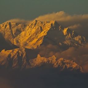 The Golden Bathing of the Kanchenjunga  by Snehasis Daschakraborty - Landscapes Mountains & Hills