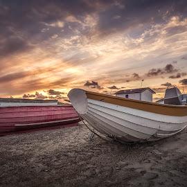 Slettestrand by Ole Steffensen - Transportation Boats ( jammerbugten, slettestrand, sunset, boats, fishing, beach, denmark )