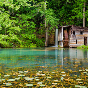 Falling Springs by Marietta Caldwell - Landscapes Waterscapes ( falling springs, mill, waterfall, lilly pads, summer )