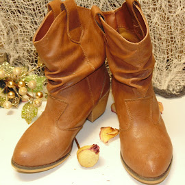 Dancin boots by Tracy Halman - Artistic Objects Clothing & Accessories ( rose, cowboy boots, tan, flower, boots )