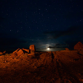 FLOYD ROAD  by Pavel Osiak - Landscapes Deserts ( desert, night photography, camping, stars, moonlight )